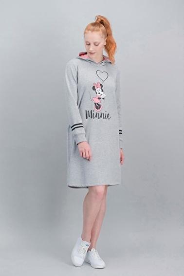 Minnie Mouse Minnie Mouse Lisanslı İnci Pembe Kadın Kapüşonlu Elbise Gri